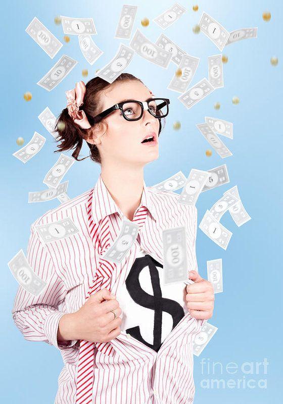 Description  Superhero Businesswoman Showing Dollar Sign Success Symbol Underneath A Shower Of Falling Money by Ryan Jorgensen