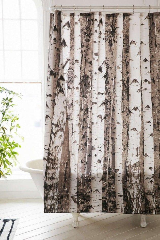 Birch Tree Forest Shower Curtain Tree Shower Curtains Primitive