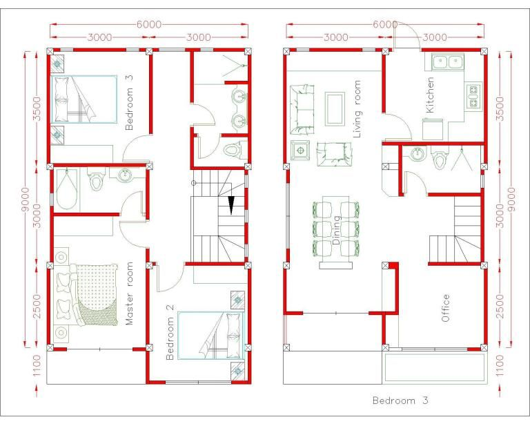 Simple Home Design Plan 6x9m With 3 Bedrooms Archi