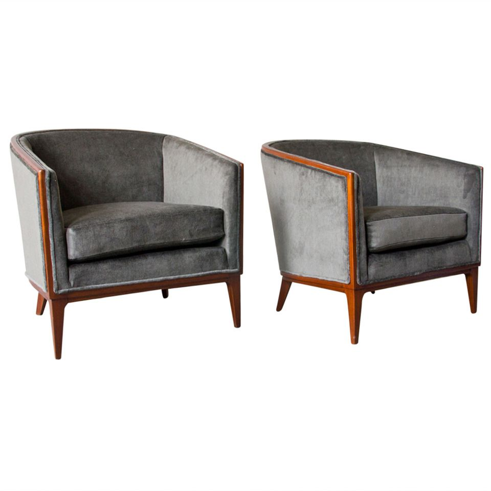 Pair of Art Deco Barrel-Back Bergères | From a unique collection of antique and modern club chairs at https://www.1stdibs.com/furniture/seating/club-chairs/