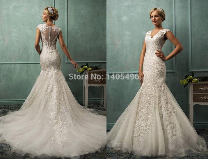 Wedding Dresses 2014 Amelia Sposa V Neck Cap Lace Tulle Mermaid