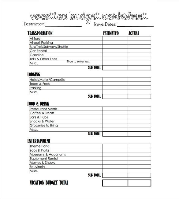18 Free Word Excel Pdf Documents Download Free Premium Templates Vacation Budget Planner Vacation Budget Template Travel Budget Worksheet