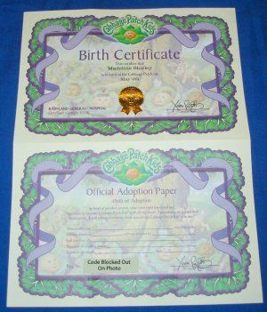 Cabbage patch kids birth certificate dolls kewpie cabbage cabbage patch kids birth certificate yadclub Choice Image