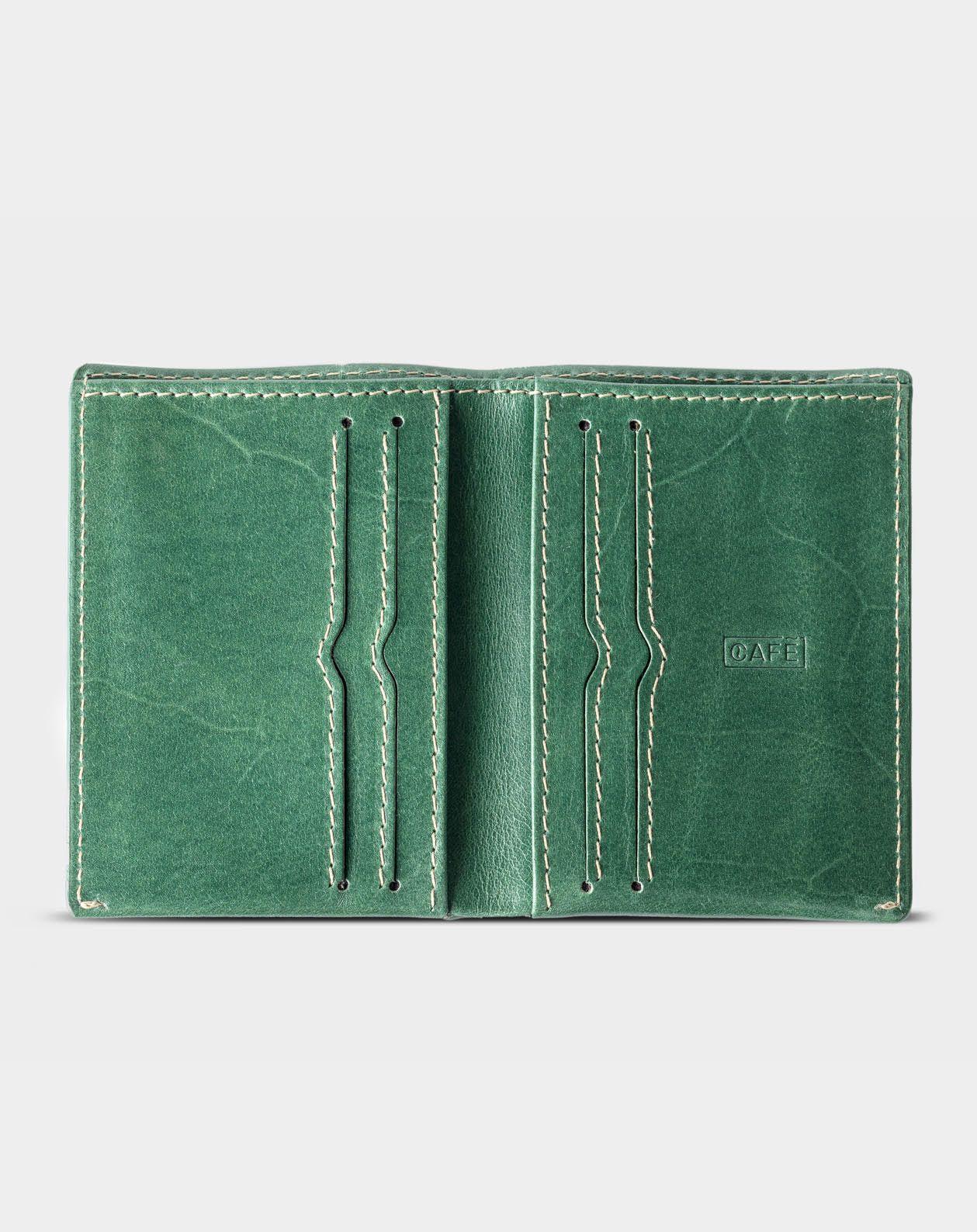 93a94b349 cartera de piel verde para más de 12 tarjetas y bolsillo para monedas
