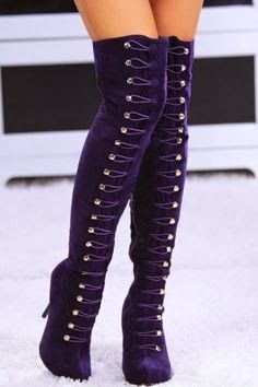 Purple Suede lace up over the knee platform boots