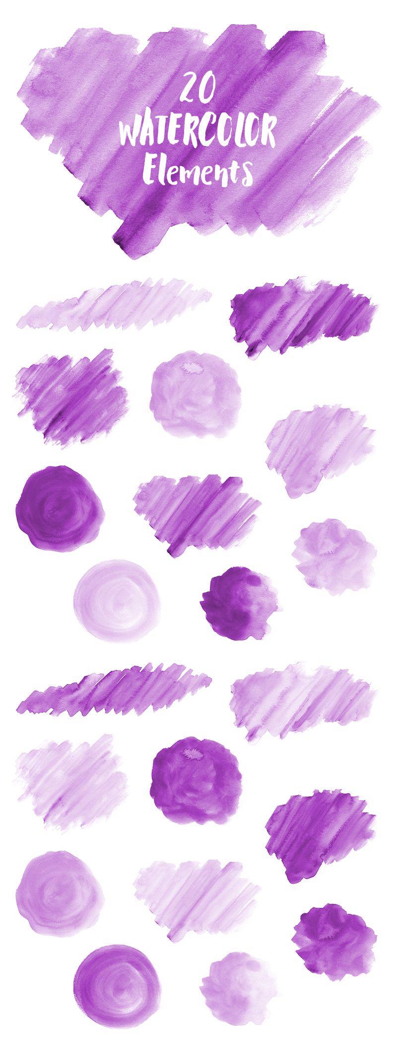 20 Purple Watercolor Splotches, Splatters, Brush Strokes; Purple Watercolor Clip Art, Transparent Background PNG; Watercolor Design Elements #watercolor #clipart #graphics