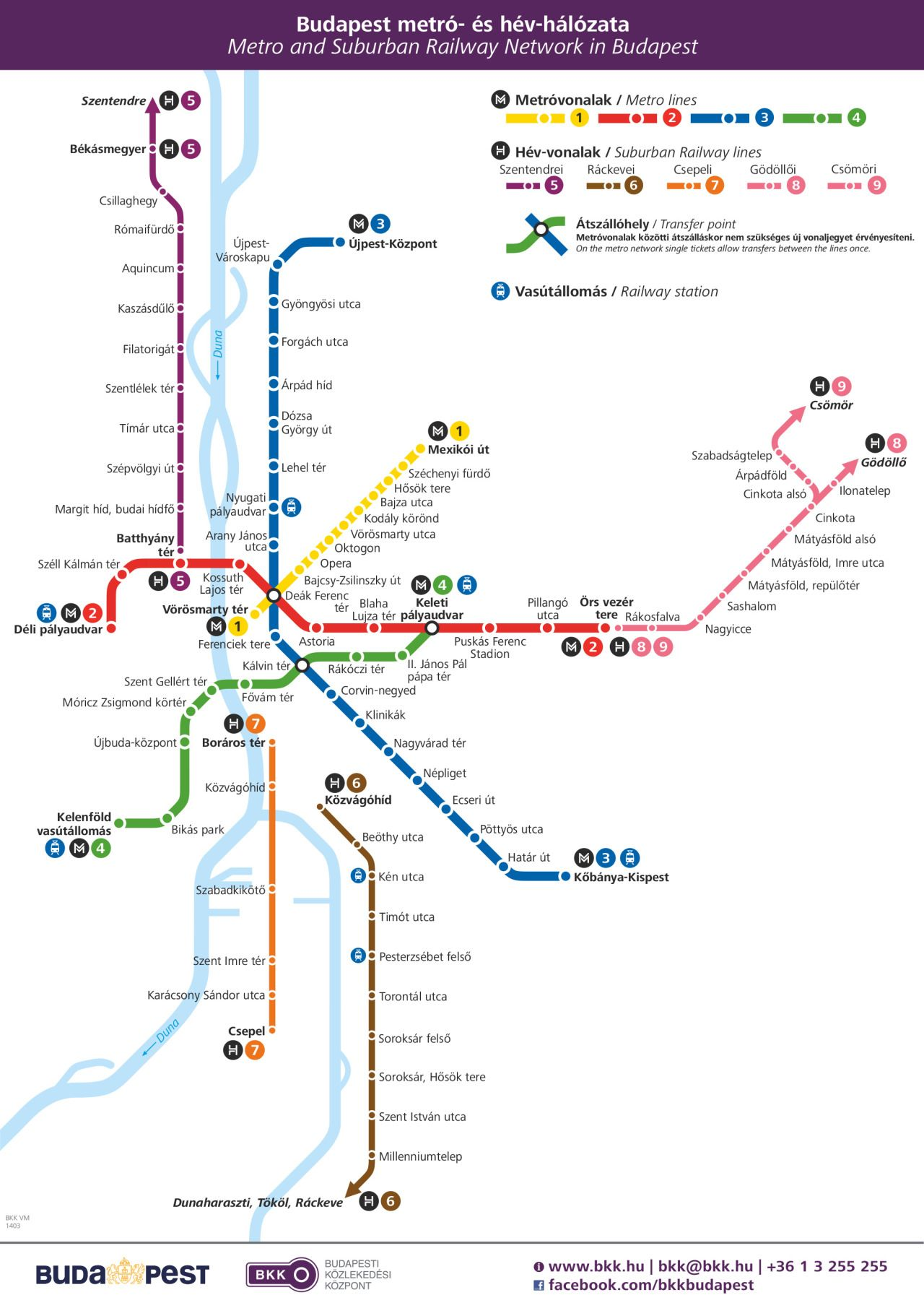 old budapest maps Official Map Budapest Metro and Suburban Rail