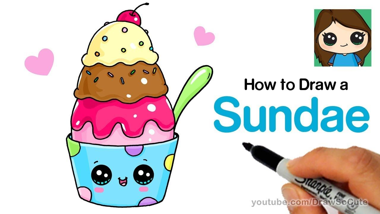 How To Draw An Ice Cream Sundae Easy And Cute Kids Fun