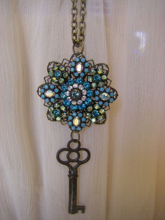 Antique Key Necklace Vintage Blue Crystal by CHAiNGEthesubject, $35.00