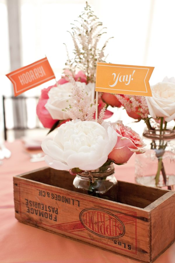 Rustic Peach Wedding Centerpiece with Peonies & Roses in wooden flower box.  #rusticwedding #peachrusticwedding #succulentbouquet #diywedding #afloral Photographer: Laura Jane Petelko|Flowers: Fuscia Designs via http://www.weddingchicks.com/2013/04/08/rustic-peach-wedding/