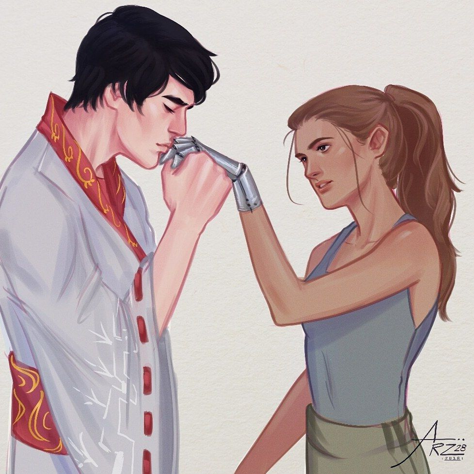 Kai And Cinder From The Lunar Chronicles This Is Like The Best Fanart Ive Ever Seen Of T Lunar Chronicles Cinder Lunar Chronicles Lunar Chronicles Books
