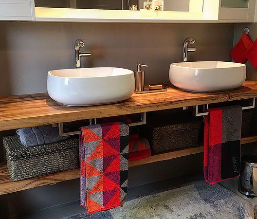 Waschtischplatte aus Holz Waschtischkonsole Waschtisch ...