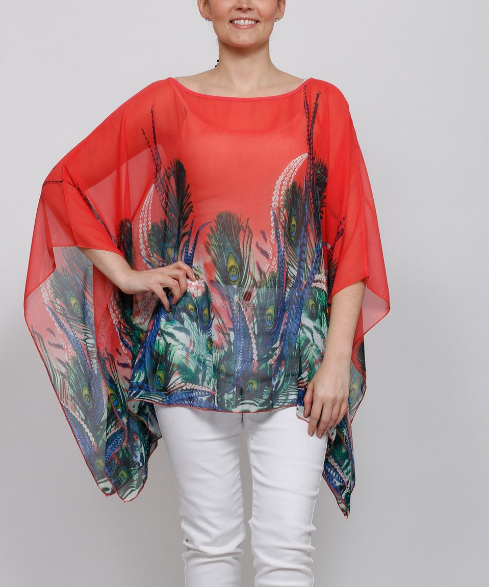 Another great find on #zulily! Highness NYC Red Peacock Cape-Sleeve Tunic - Plus by Highness NYC #zulilyfinds