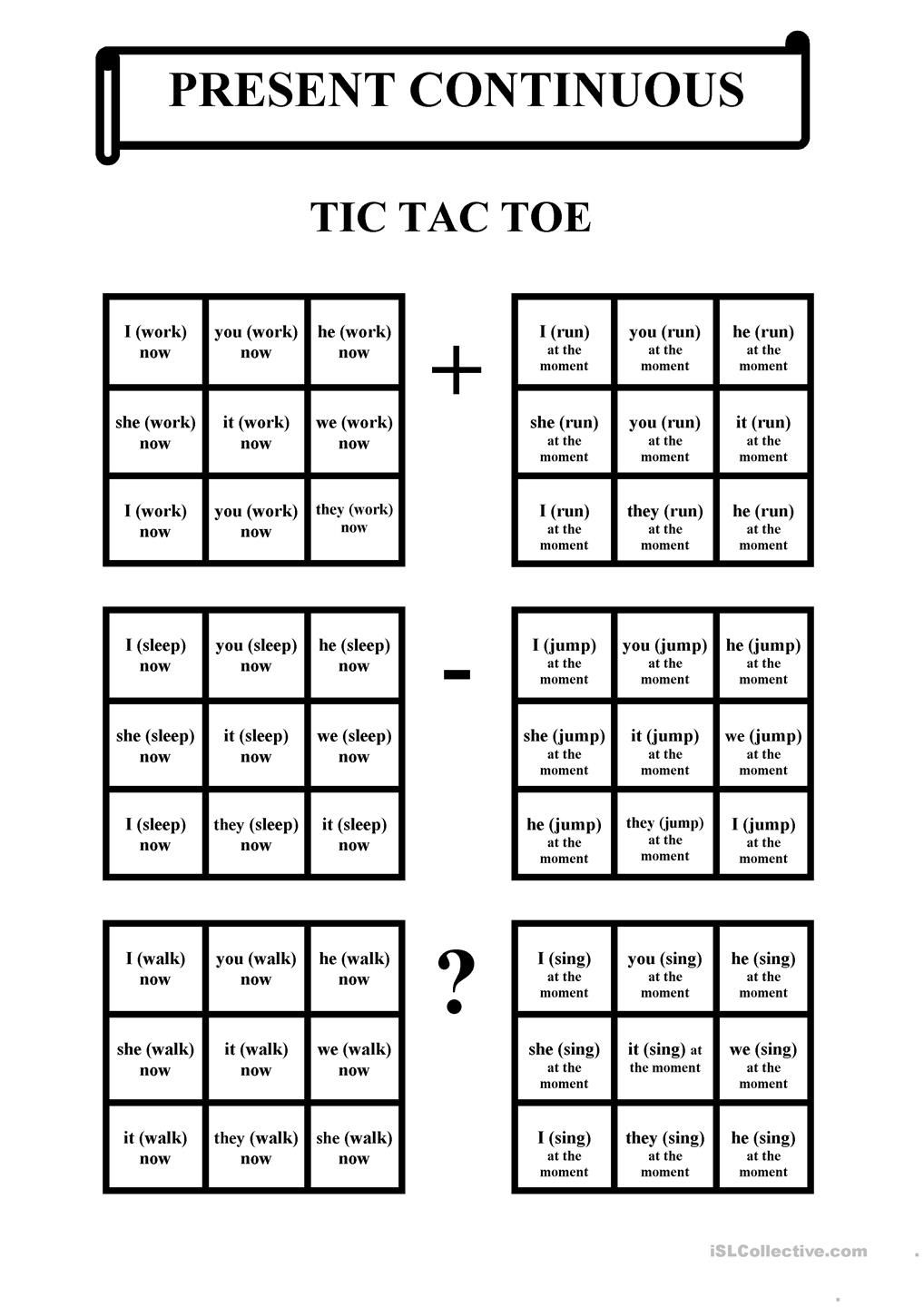 Tic tac toe present continuous esl grammar pinterest for Tic tac toe homework template