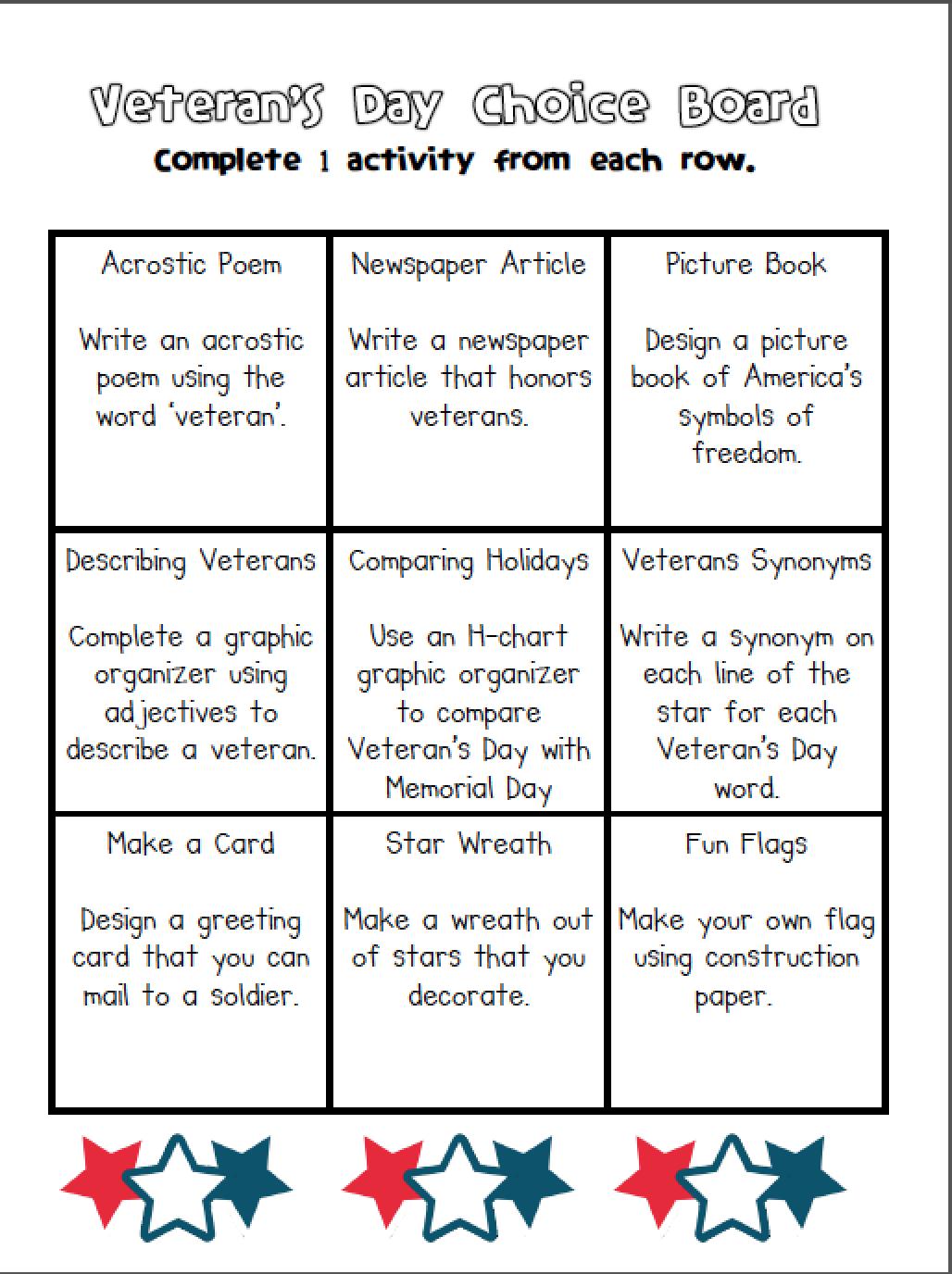 educationjourney: Veteran's Day Choice Board   Veterans day [ 1376 x 1028 Pixel ]