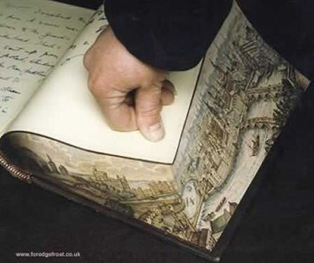 Since 1970, Martin Frost has produced well over 3000 Fore-edge and Miniature Paintings for the Book trade. A fore-edge painting is where the page block is fanned and an image applied to the stepped surface. If the page edges are themselves gilded or marbled, this results in the image disappearing when the book is relaxed. When refanned, the painting magically re-appears.