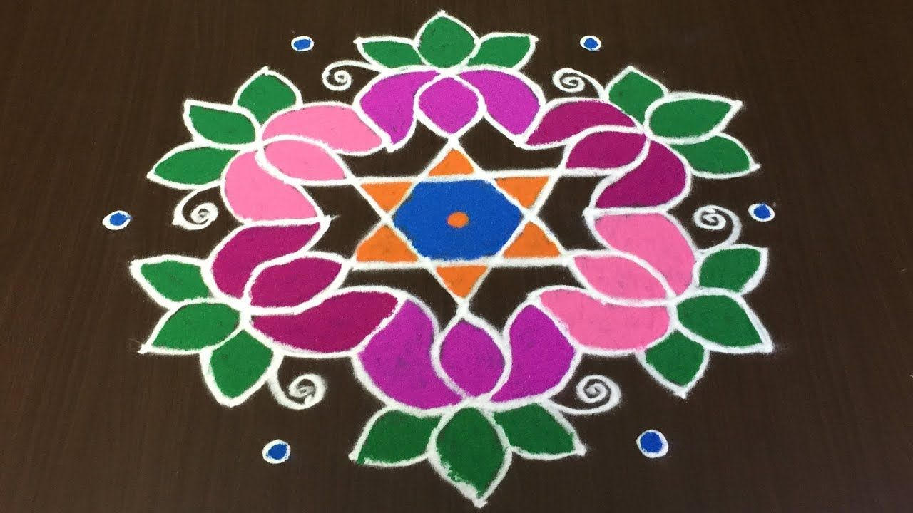 Beautiful Lotus Flowers Rangoli Designs For Sankranti With 11 To 6 Dots Rangoli Dizain Rangoli Designs With Dots Rangoli Border Designs Rangoli With Dots