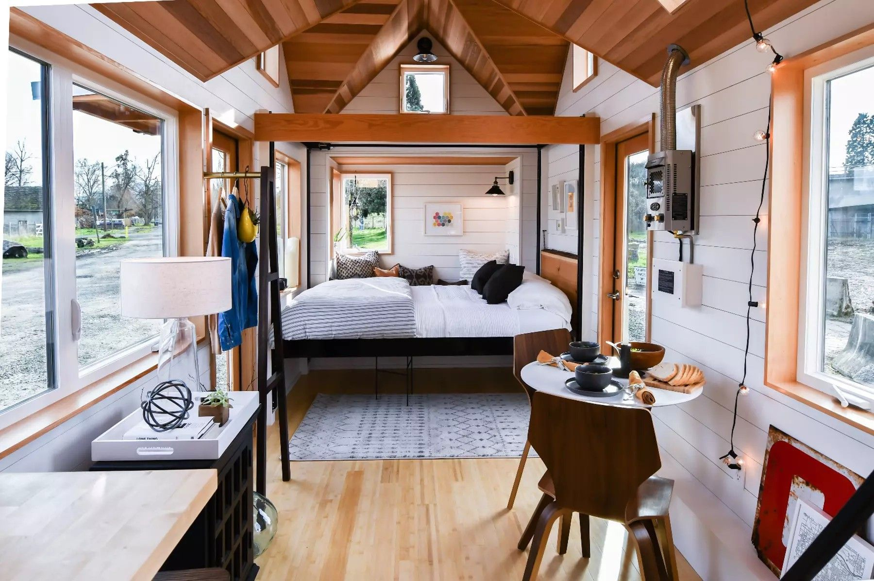 Open Concept Tiny House With Elevator Platform Bed Tiny House Interior Bedroom House Plans Tiny House Decor