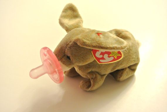 """Bunny """"Nibbly"""" Baby Beanie Buddy with Pacifier on Etsy, $15.00"""