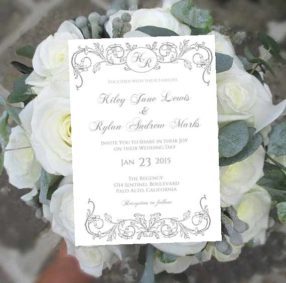 Printable Wedding Invitation Template Monogram Royale Silver Gray - microsoft office invitation templates free download