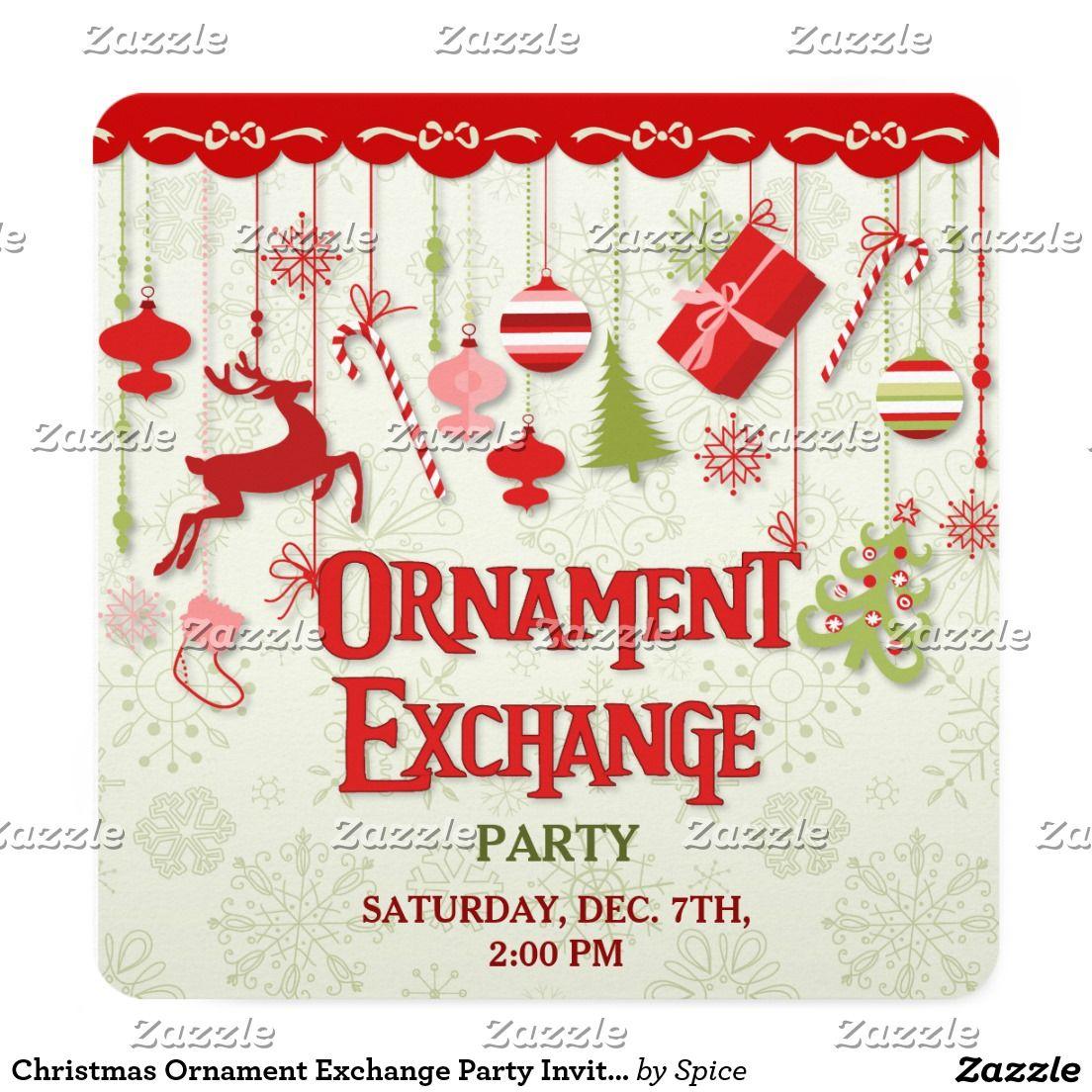 Christmas Ornament Exchange Party Invitation #zazzle   Christmas ...