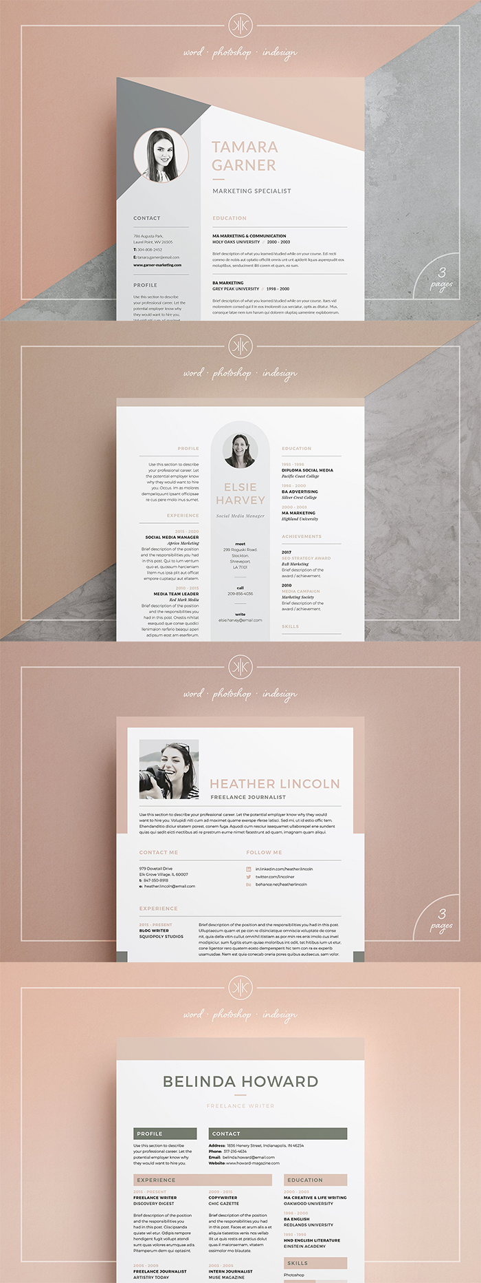 professional compact resume  cv design with matching cover letter for those looking for a high