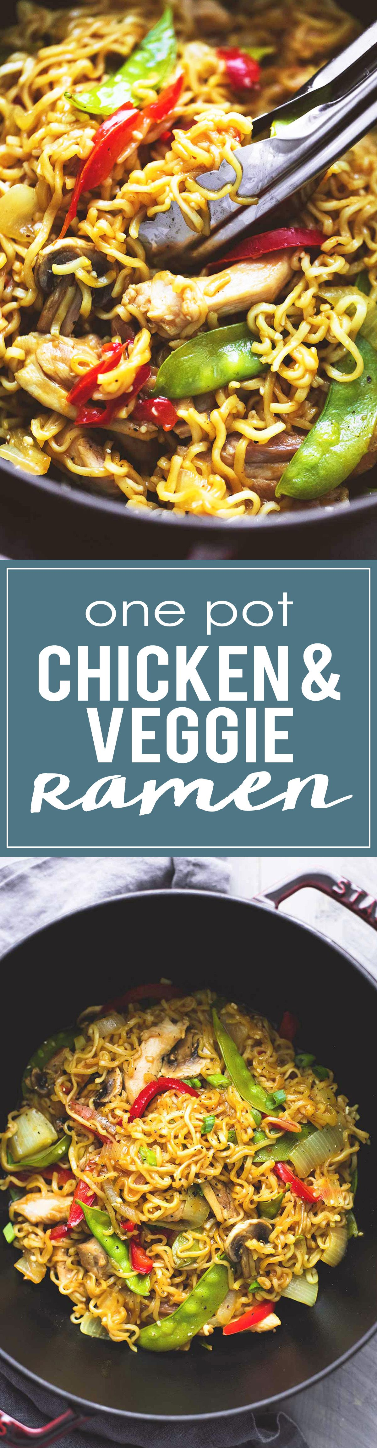 Easy One Pot Chicken & Veggie Ramen is ready in less than 30 minutes and customizable with any of your favorite veggies.   lecremedelacrumb.com
