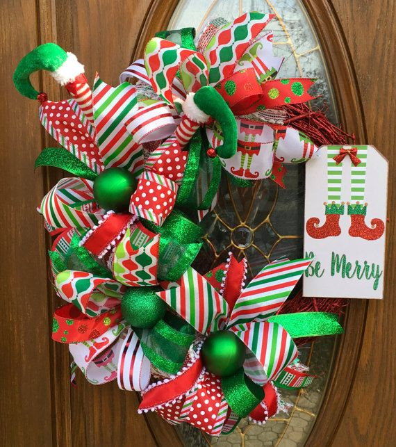 Christmas Ribbon Wreath - Red and Green Christmas Wreath - Christmas