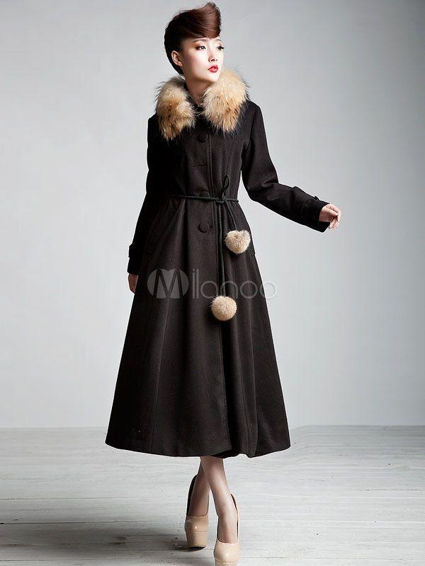 48€ manteau Capes manches en noir Chic 105 longues et laine femme Bfzd4x