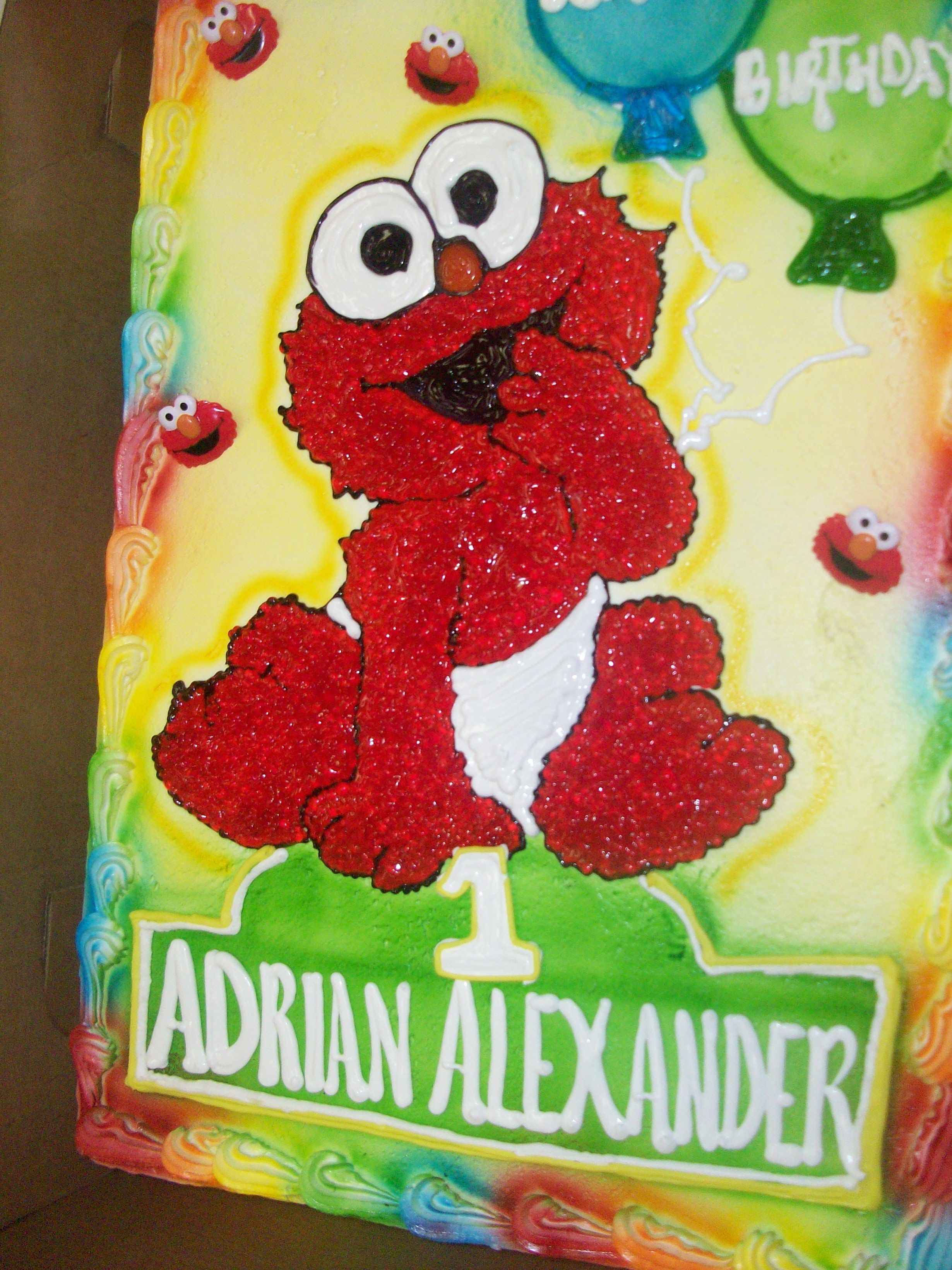 Calumet Bakery Baby Elmo drawing with airbrushed balloons 1st