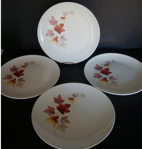 4 Casual Vintage Sabin Industries Autumn Leaves 10 Dinner Plates made in USA & 4 Casual Vintage 1950\u0027s Sabin Industries Autumn Leaves 10 1/4 ...