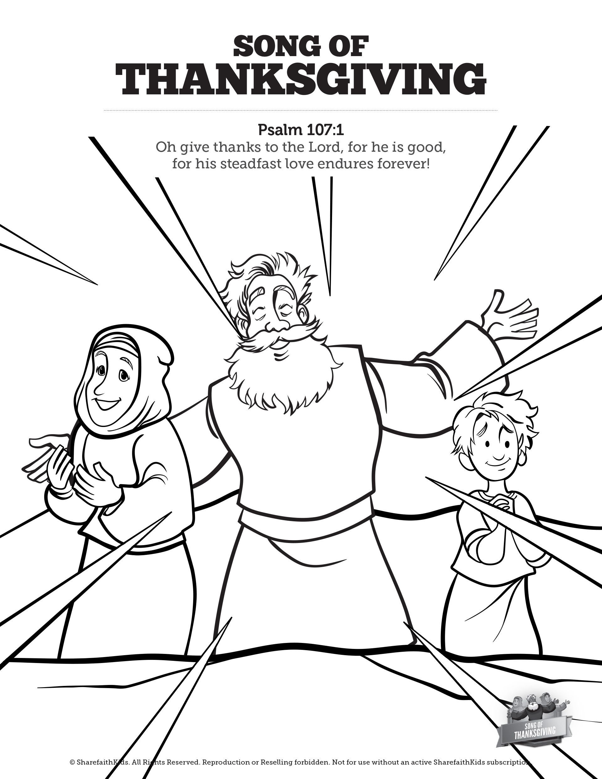 Psalm 107 Song Of Thanksgiving Sunday School Coloring