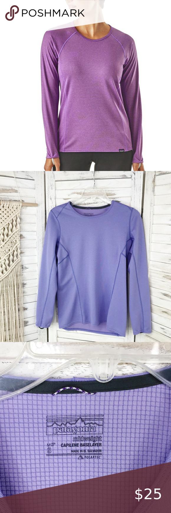 Patagonia Purple Capilene Baselayer Crew Neck S Layered Shirts Clothes Design Layered Long Sleeve [ 1740 x 580 Pixel ]