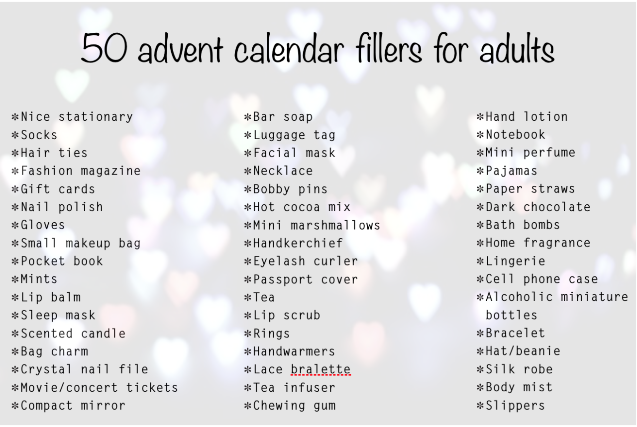 Advent Calendar Fillers Ideas For Women Advent Calendar Pinte