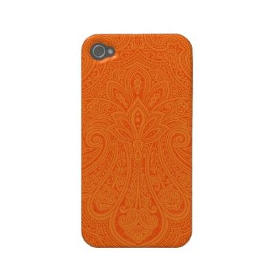 Tangerine Indian Paisley iPhone Case Iphone 4 Case-mate Case by thepinkpagoda