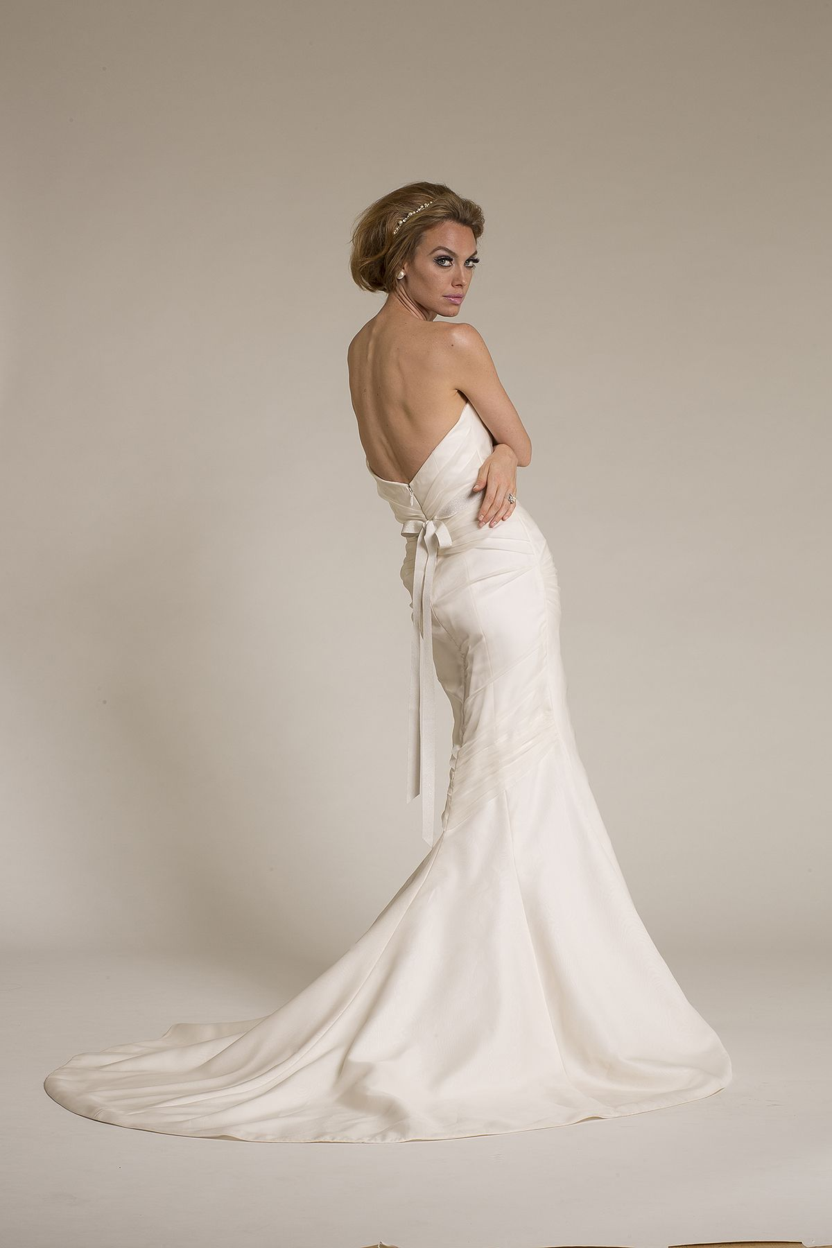 Amy Kuschel Bride Sugar wedding gown back view with Barcelona Sash ...