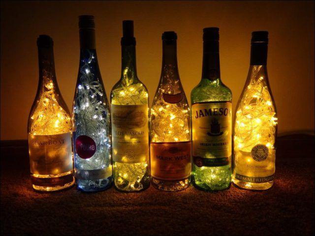 wine bottle with christmas lights inside - Wine Bottle With Christmas Lights Inside Christmas Decor & Craft
