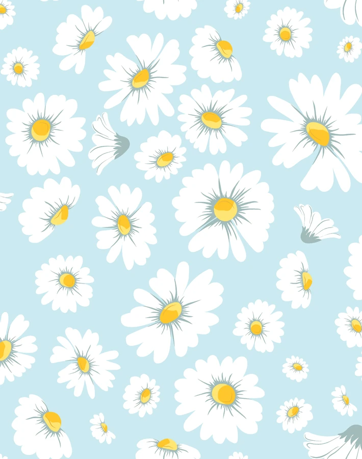 Daisy Bloom Removable Wallpaper Baby Blue Flower Phone Wallpaper Cute Wallpaper For Phone Baby Blue Wallpaper