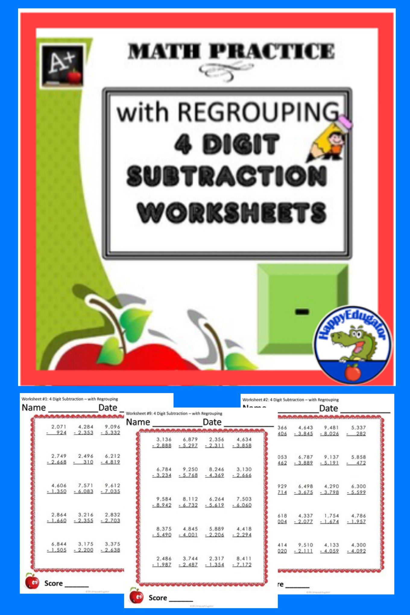 4 Digit Subtraction Worksheets With Regrouping