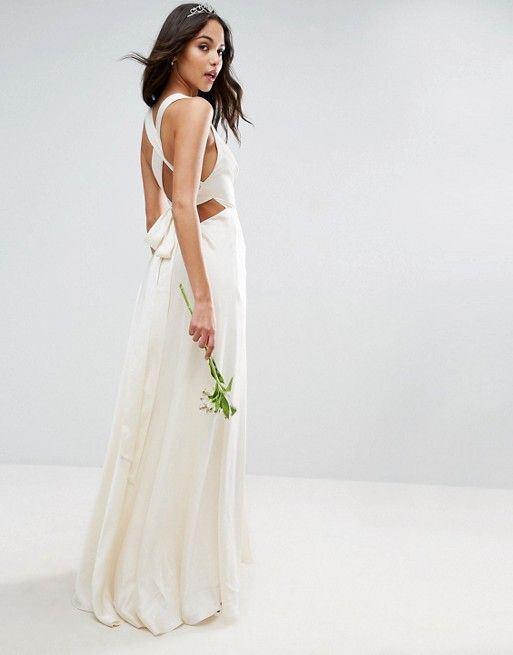 Cute ASOS BRIDAL Deep Plunge Strap Back Fishtail Maxi Dress Wedding Dresses