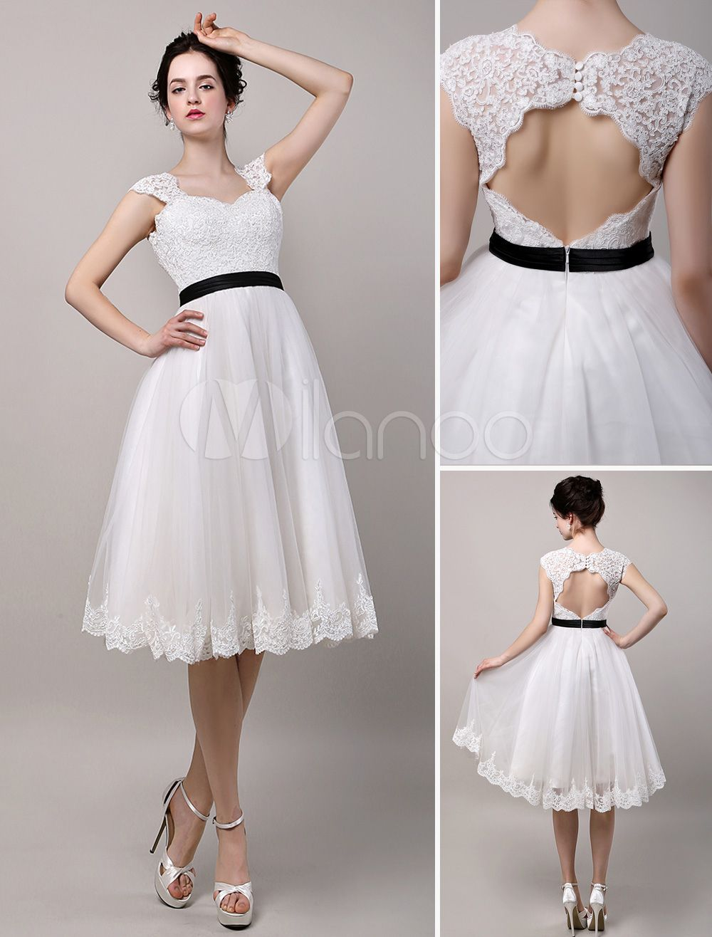 Vintage Inspired Chic Retro Keyhole Back Lace Tulle Tea Length ...