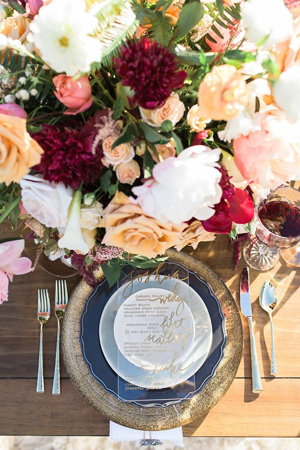 Cobalt and Gold Place Setting   Carlie Statsky Photography   Luxe Bohemian Wedding in Jewel Tones