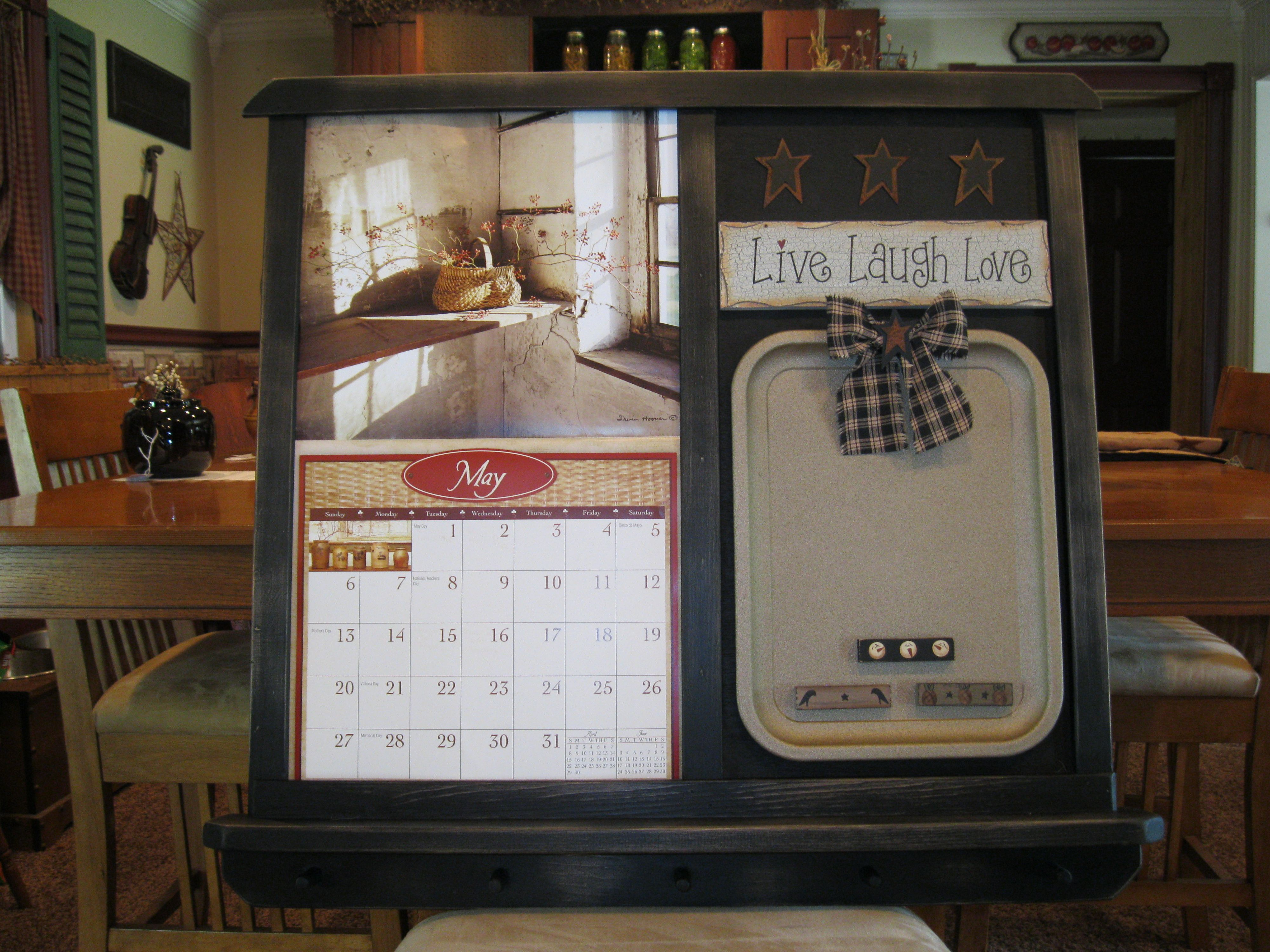 Primitive Calendar Holder Country Primitive Decor