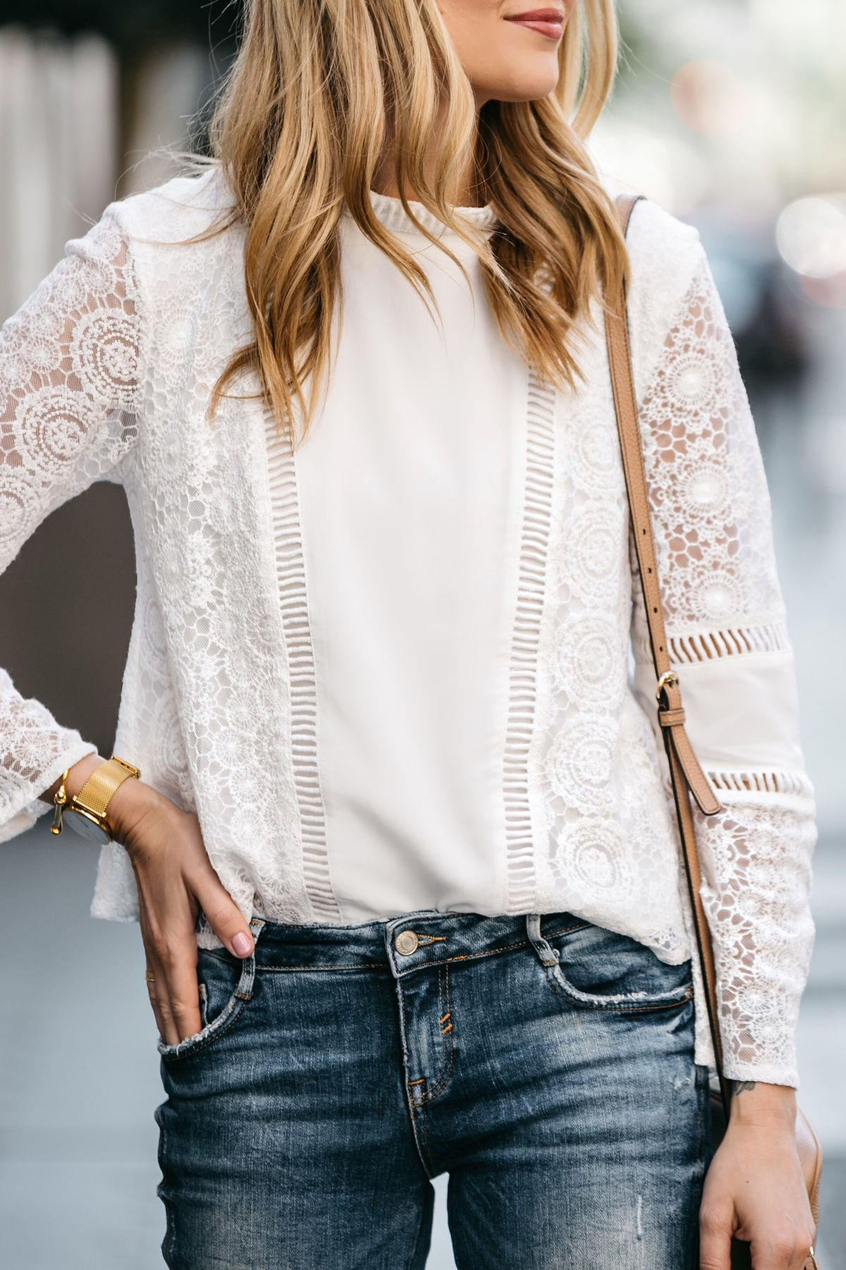 d66572b279379f Fashion Jackson, Dallas Blogger, Fashion Blogger, Street Style, Mink Pink  White Lace Top, Zara Denim Ripped Skinny Jeans, Gucci Soho Disco Handbag
