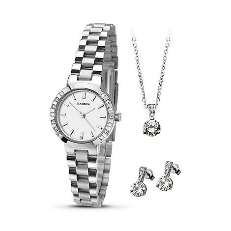 Sekonda La s silver coloured watch pendant & earrings t set