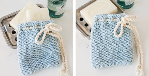 Soap Saver Knitted Pouch FREE Knitting Pattern | Diy ...