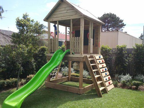 Outlook fort for outdoor kids play area from cubby houses for Kids outdoor fort plans