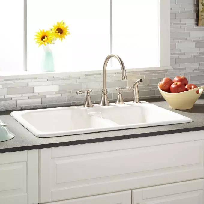 Download Wallpaper White Drop In Double Kitchen Sink