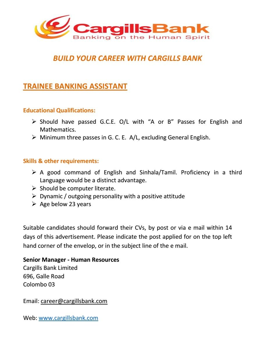 Trainee Banking Assistant At Cargills Bank Limited  Career First