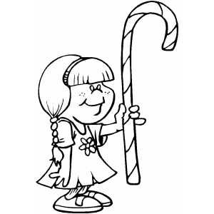 Girl With Candy Cane Free Coloring Sheets in .PNG format